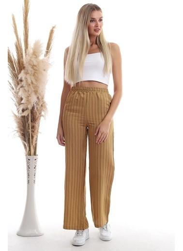 Cottonmood 20333459 Keten Çizgi Desenli Cepli Pantolon Hardal Hardal